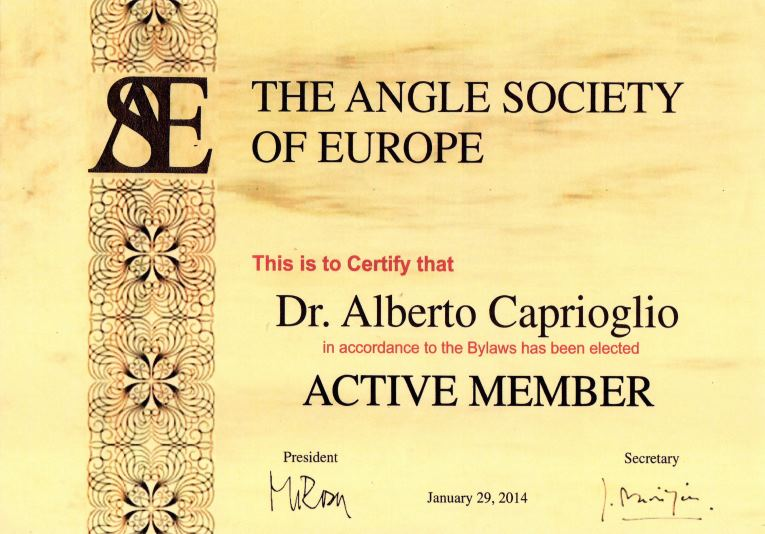 Angle Society of Europe - Diploma 2014 Alberto Caprioglio dentista denti pavia clinica dentale