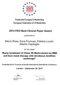 BEST CLINICAL PAPER AWARD 2015 della Federazione Europea di Ortodonzia - Londra 2015 alberto Caprioglio dentista denti Pavia