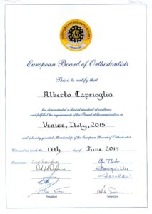 European Board of Orthodontics - Diploma 2015 alberto caprioglio dentista pavia