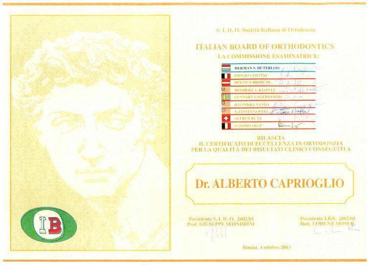 Italian Board of Orthodontics- Diploma 2003 alberto Caprioglio dentista pavia