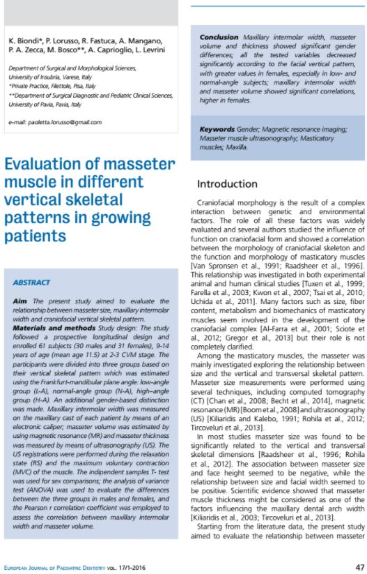 Biondi K. et al. - EJPD 2016 - Evaluation of masseter muscles in different vertical...