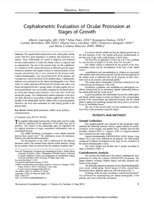 Cephalometric evaluation of ocular protrusion at stages of growth