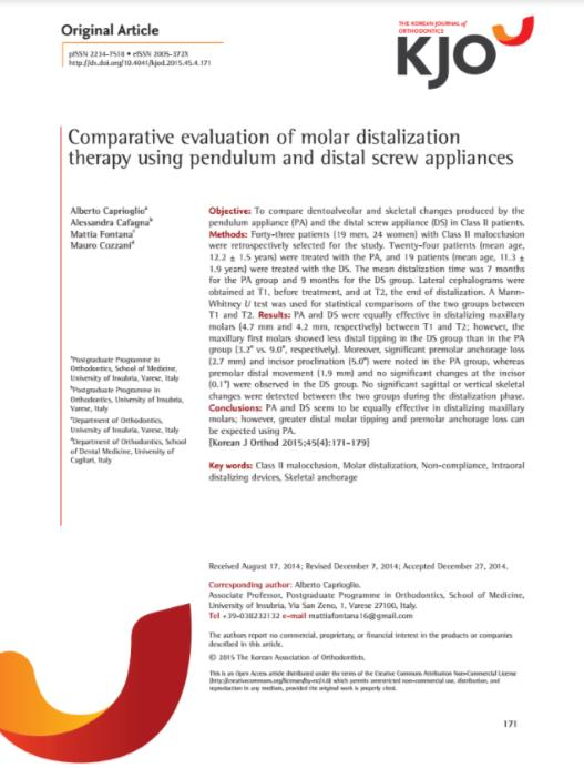 Comparative evaluation of molar distalization therapy