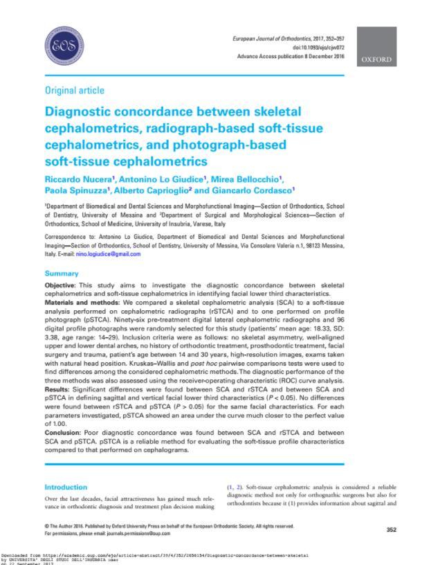 Diagnostic concordance between skeletal cephalometrics, radiograph
