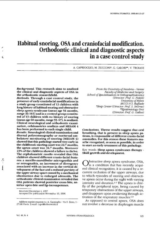 Habitual snoring, OSA and craniofacial modification.