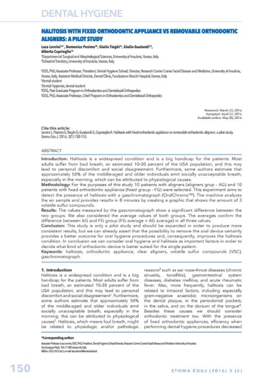 Halitosis with fixed orthodontic appliance vs removable orthodontic aligners a pilot study