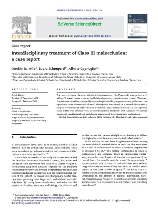 Interdisciplinary treatment of Class III malocclusion