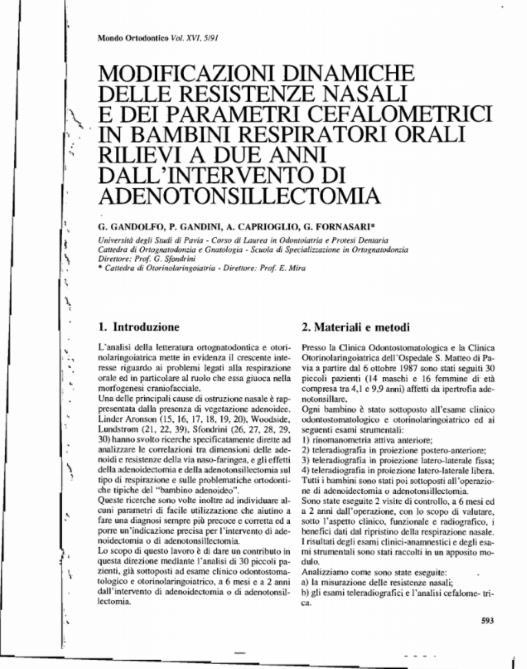 Modificazioni dinamiche delle resistenze nasali