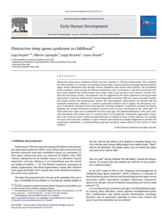 Obstructive sleep apnea syndrome in childhood