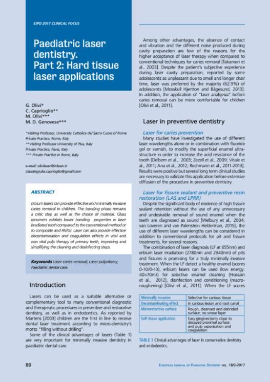Paediatric laser dentistry II Hard tissue laser applications