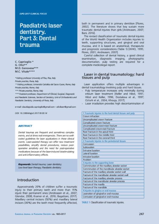 Paediatric laser dentistry III Dental trauma