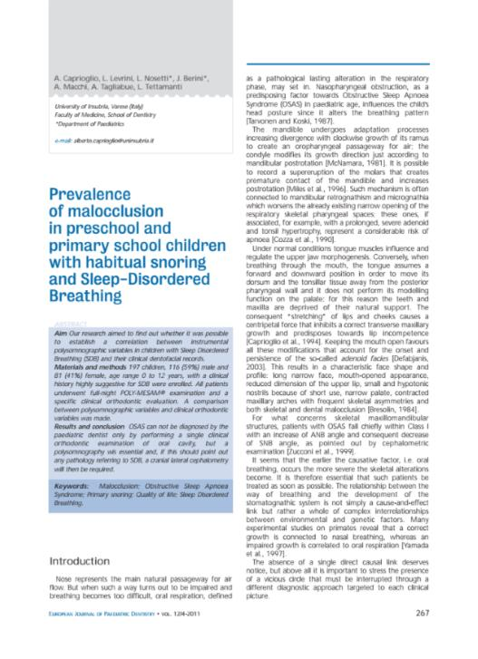 Prevalence of malocclusion in preschool and primary school