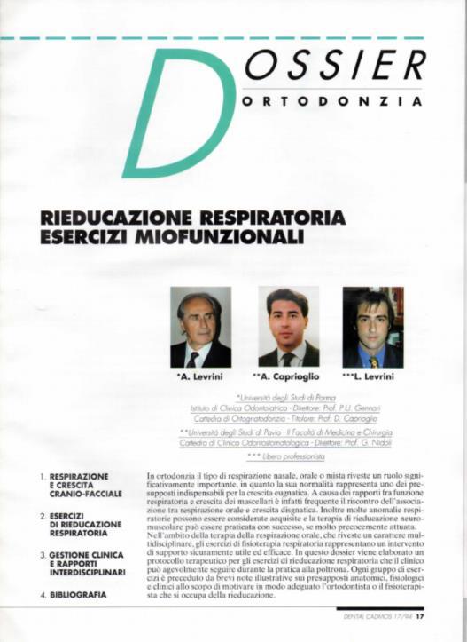Rieducazione respiratoria esercizi miofunzionali prof Alberto Caprioglio