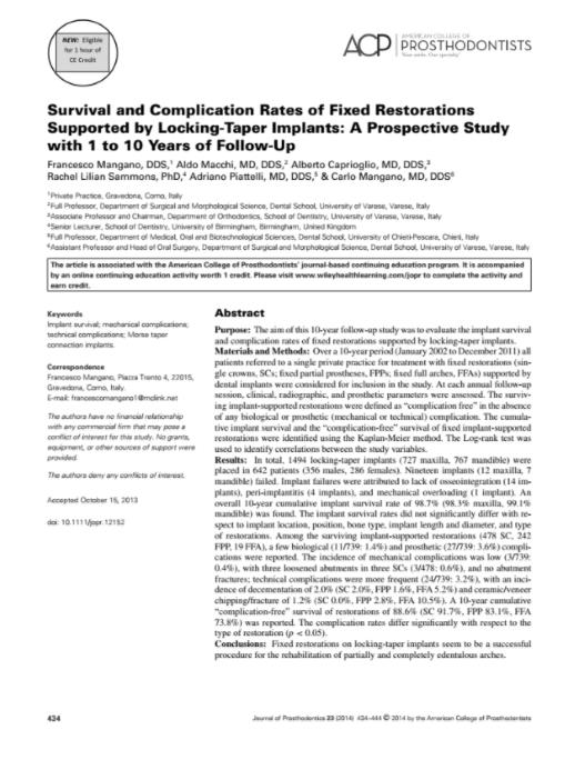 Survival and complication rates of fixed restorations supported by locking-taper implants