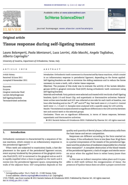 Tissue response during self-ligating treatment