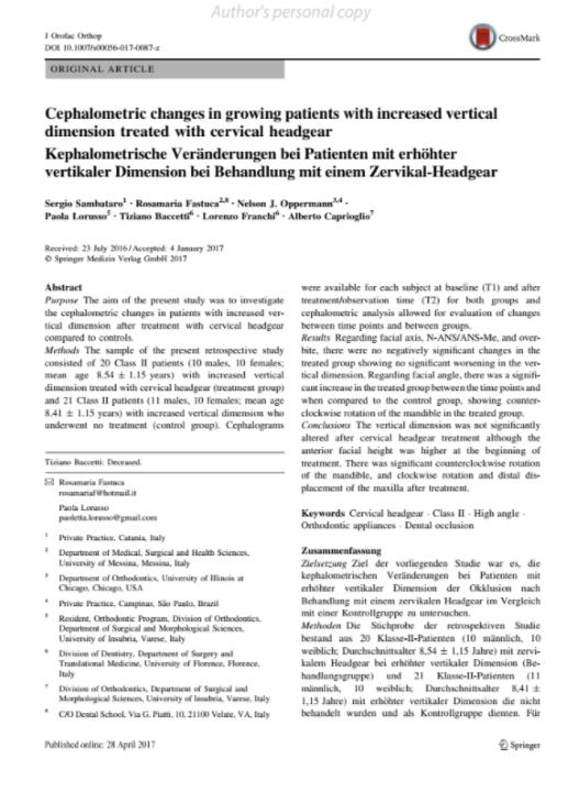 Alberto Caprioglio dentista pavia articolo scientifico Cephalometric changes in growing patients with increased vertical dimension