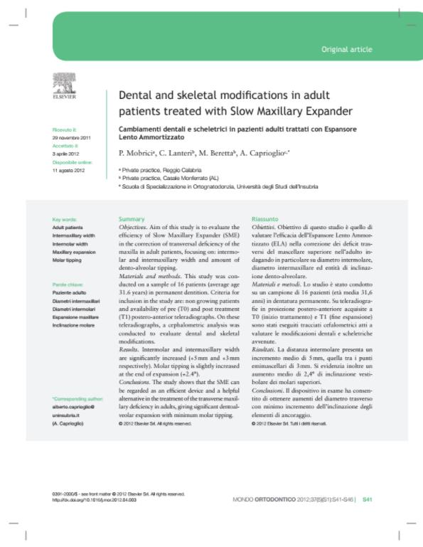 Dental and skeletal modifi cations in adult patients treated with Slow Maxillary Expander