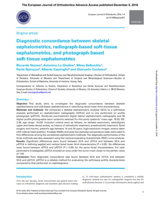 Diagnostic concordance between skeletal cephalometrics, radiograph-based