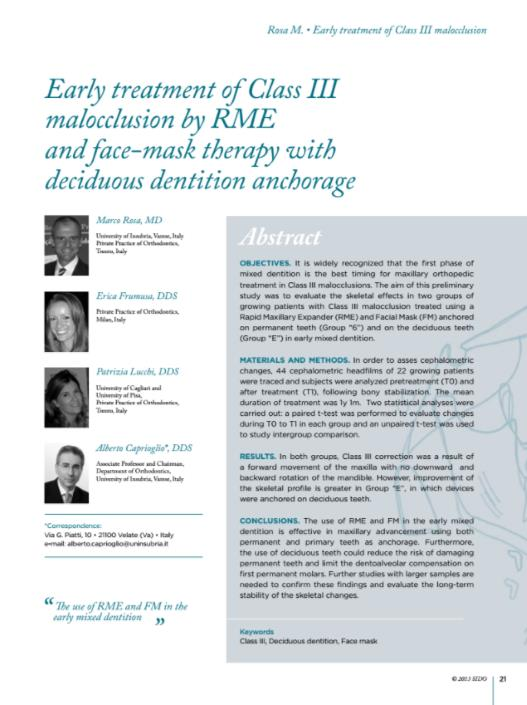 Early treatment of Class III malocclusion by RME and face-mask therapy with deciduous dentition anchorage