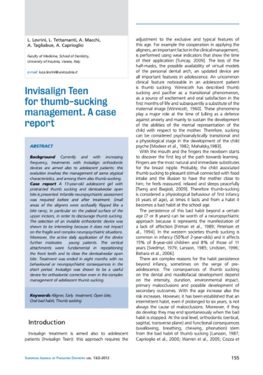 Invisalign Teen for thumb-sucking management. A case report
