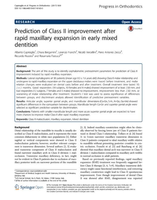Prediction of Class II improvement