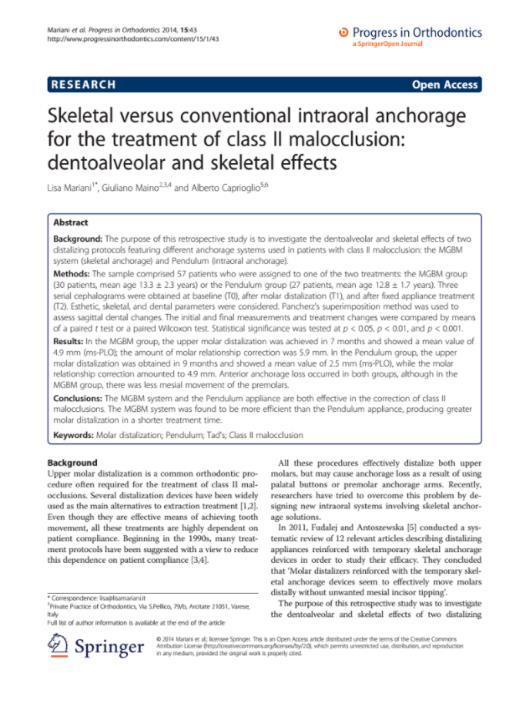 Skeletal versus conventional intraoral anchorage