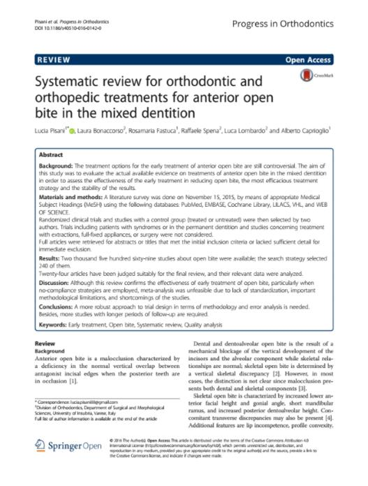 Systematic review for orthodontic and orthopedic treatments
