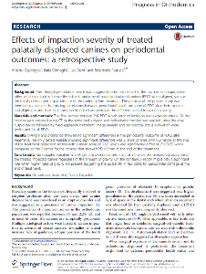 Caprioglio A. et Al.- PIO 2019 - Effects of impaction severity of treated PDC on periodontal outcames...